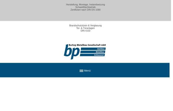 Vorschau von www.bp-burhop.de, bp Burhop Metallbaugesellschaft mbH