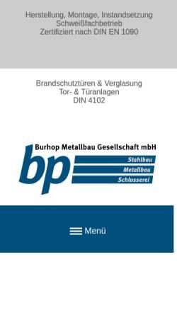 Vorschau der mobilen Webseite www.bp-burhop.de, bp Burhop Metallbaugesellschaft mbH