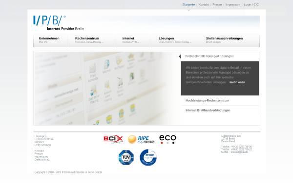 Vorschau von www.ipb.de, I/P/B/ Internet Provider in Berlin GmbH