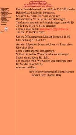 Vorschau der mobilen Webseite www.plattenservice-harmel.de, Plattenservice und Fleischerei Klaus Harmel