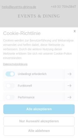 Vorschau der mobilen Webseite www.events-dining.de, Events & Dining Berlin