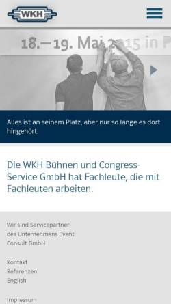 Vorschau der mobilen Webseite www.wkh-berlin.de, WKH Bühnen- und Congress-Service GmbH