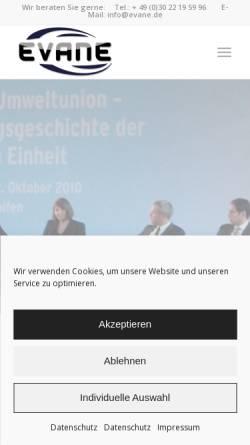 Vorschau der mobilen Webseite evane.de, Evane Kongress- und Veranstaltungstechnik