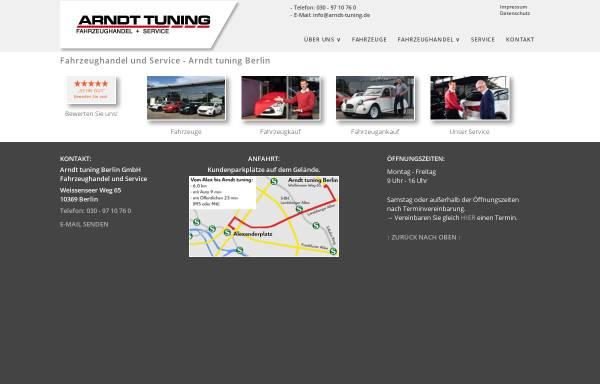 Vorschau von www.arndt-tuning.de, Arndt Tuning Berlin GmbH