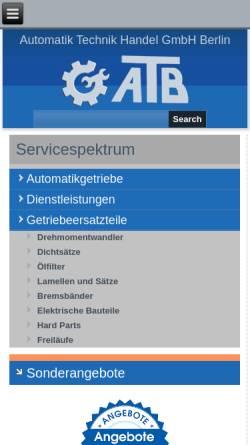 Vorschau der mobilen Webseite www.atb-berlin.com, ATB Automatik Technik Handel GmbH