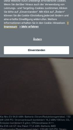 Vorschau der mobilen Webseite www.kia-berlin.de, Kia Motors Deutschland - Vertretung Berlin