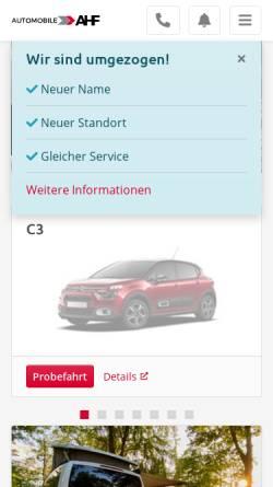 Vorschau der mobilen Webseite www.automobile-ahf.de, Thomas Arndt GmbH