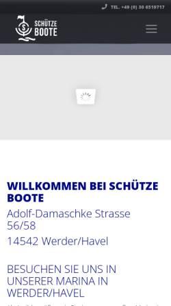 Vorschau der mobilen Webseite www.schuetze-boote-berlin.de, Schütze Bootshandel