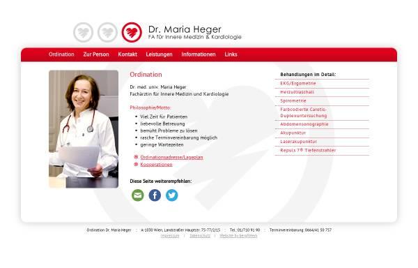 Vorschau von www.mariaheger.at, Dr. Maria Heger, Internist Wien - Fachärztin für Innere Medizin und Kardiologie, 1030 Wien