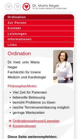 Vorschau der mobilen Webseite www.mariaheger.at, Dr. Maria Heger, Internist Wien - Fachärztin für Innere Medizin und Kardiologie, 1030 Wien