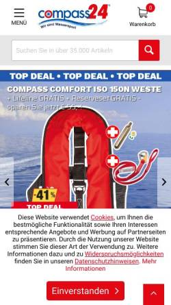 Vorschau der mobilen Webseite www.compass24.de, Compass Yachtzubehör