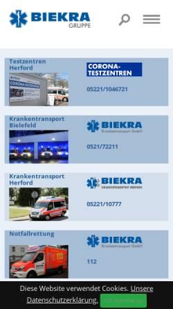 Vorschau der mobilen Webseite www.biekra.de, Biekra Krankentransport GmbH