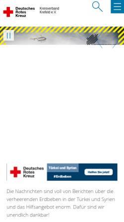 Vorschau der mobilen Webseite www.drk-krefeld.de, DRK Kreisverband Krefeld e.V.