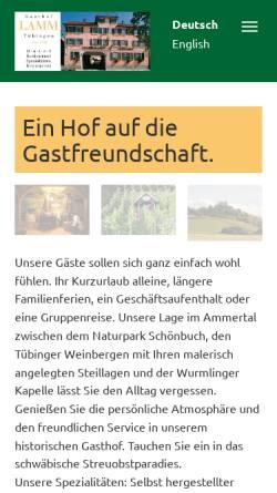 Vorschau der mobilen Webseite www.lamm-tuebingen.de, Gasthof-Hotel Lamm