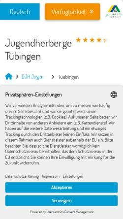 Vorschau der mobilen Webseite tuebingen.jugendherberge-bw.de, Jugendherberge Tübingen