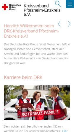 Vorschau der mobilen Webseite www.drk-pforzheim.de, Deutsches Rotes Kreuz - Kreisverband Pforzheim e.V.