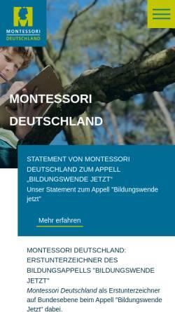 Vorschau der mobilen Webseite www.montessori-deutschland.de, Montessori Dachverband Deutschland e.V.