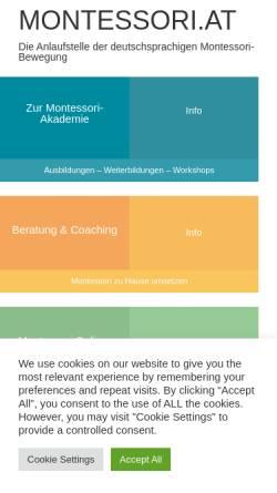 Vorschau der mobilen Webseite www.montessori.at, Montessori-Zentrum Wien