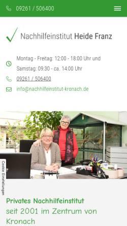Vorschau der mobilen Webseite www.nachhilfeinstitut-kronach.de, Nachhilfeinstitut Heide Franz