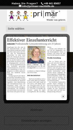 Vorschau der mobilen Webseite www.primaer-nachhilfe.de, Primär