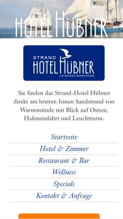 Vorschau der mobilen Webseite www.hotel-huebner.de, Strand-Hotel Hübner