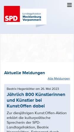 Vorschau der mobilen Webseite www.spd-fraktion-mv.de, SPD-Landtagsfraktion Mecklenburg-Vorpommern