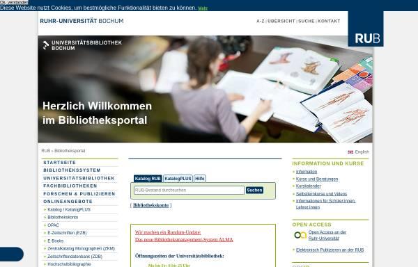 Vorschau von www.ub.ruhr-uni-bochum.de, Universitätsbibliothek Bochum