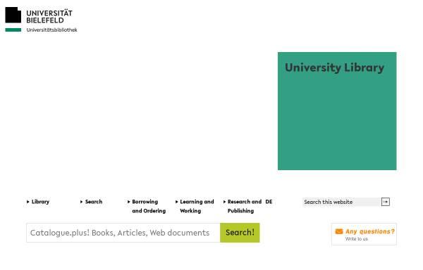 Vorschau von www.ub.uni-bielefeld.de, Universitätsbibliothek Bielefeld