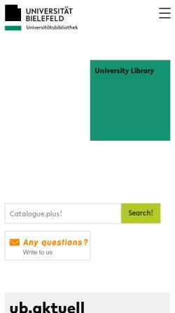 Vorschau der mobilen Webseite www.ub.uni-bielefeld.de, Universitätsbibliothek Bielefeld