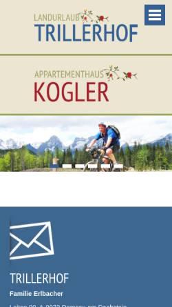 Vorschau der mobilen Webseite www.mountainbike-pension.at, Mountainbike-Pension Trillerhof