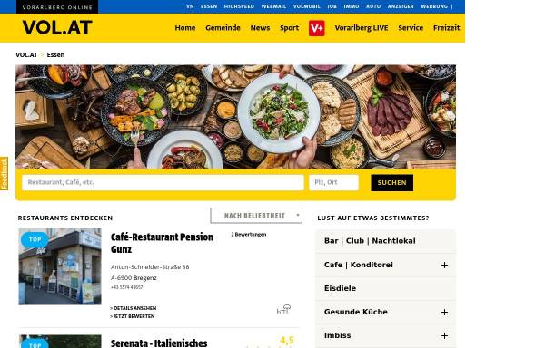 Vorschau von essen.vol.at, Essen in Bludenz