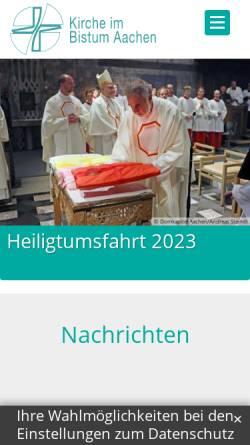 Vorschau der mobilen Webseite www.kirche-im-bistum-aachen.de, Aachen - Bistum