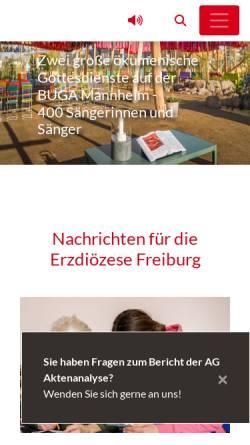 Vorschau der mobilen Webseite www.erzbistum-freiburg.de, Freiburg - Erzbistum