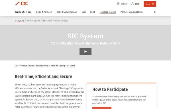 Vorschau von www.sic.ch, Swiss Interbank Clearing AG