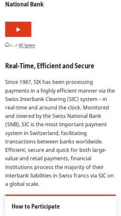 Vorschau der mobilen Webseite www.sic.ch, Swiss Interbank Clearing AG
