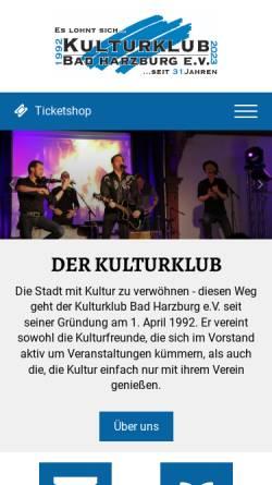 Vorschau der mobilen Webseite www.kulturklub-bad-harzburg.de, Kulturklub Bad Harzburg e.V.