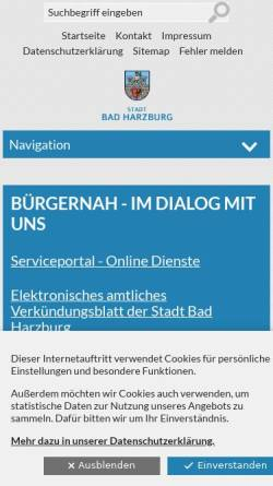 Vorschau der mobilen Webseite www.stadt-bad-harzburg.de, Stadt Bad Harzburg