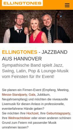 Vorschau der mobilen Webseite www.ellingtones.de, Ellingtones Jazzband