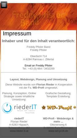 Vorschau der mobilen Webseite www.freddy-pfister-band.at, Freddy Pfister Band