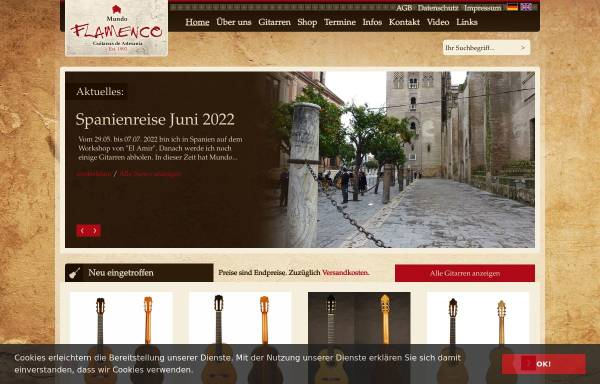 Vorschau von www.mundo-flamenco.com, Mundo Flamenco, Inh. Johannes Inhoffen