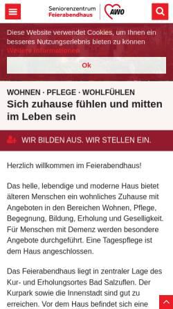 Vorschau der mobilen Webseite www.feierabendhaus.de, AWO-Feierabendhaus Bad Salzuflen