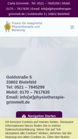 Vorschau der mobilen Webseite www.physiotherapie-grimmelt.de, Carla Grimmelt