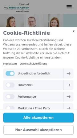 Vorschau der mobilen Webseite www.hautarzt-duesseldorf.de, Cornely, Dr. med. Manuel E.