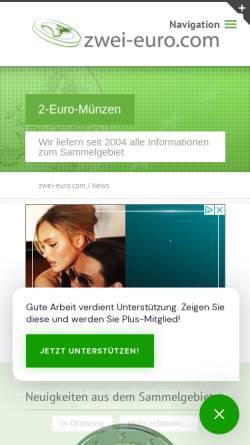 Vorschau der mobilen Webseite www.zwei-euro.com, zwei-euro.com