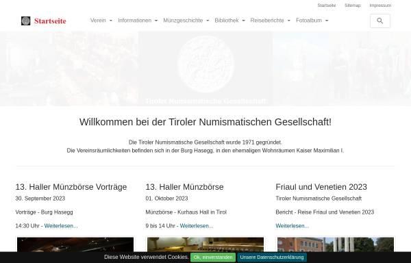 Vorschau von www.tiroler-numismatik.at, Tiroler Numismatische Gesellschaft
