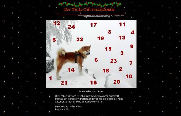 Vorschau von www.akita-mailingliste.de, Der Akita-Adventskalender