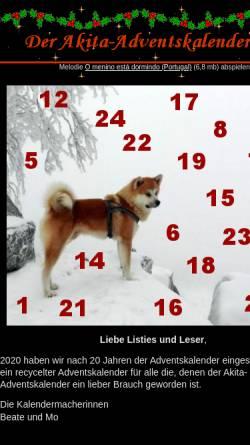 Vorschau der mobilen Webseite www.akita-mailingliste.de, Der Akita-Adventskalender