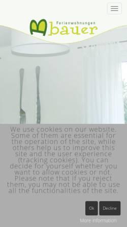 Vorschau der mobilen Webseite www.bauer-badcamberg.de, Ferienwohnung Bauer