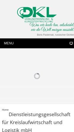 Vorschau der mobilen Webseite www.dkl-kunststoffe.de, Dienstleistungsgesellschaft für Kreislaufwirtschaft und Logistik mbH