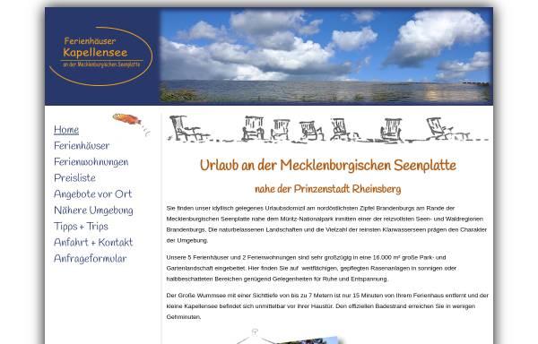 Vorschau von www.ferienhaus-kapellensee.de, Ferienhäuser Kapellensee